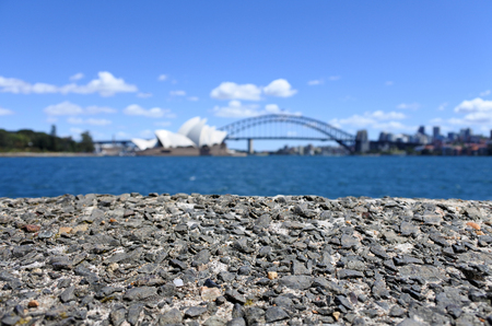 port jackson: Background of Sydney  skyline with the Opera House and Sydney Harbour Bridge in New South Wales, Australia
