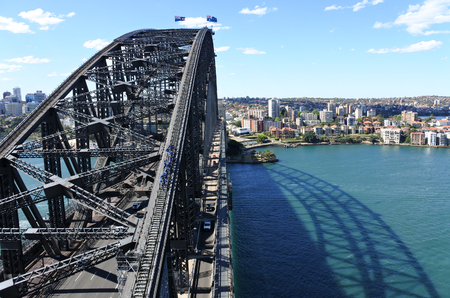 sydney harbour bridge: Aerial view of Sydney Harbour Bridge from the south-eastern pylon containing the tourist lookout towards North Sydney, New South Wales Australia.