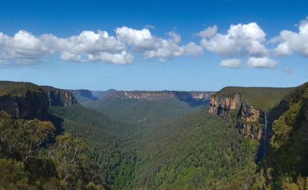 wales: Landscape view of Govetts Leap Lookout of the Grose Valley located within the Blue Mountains National Park in the Blue Mountains region of New South Wales, Australia. Stock Photo
