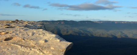 new south wales: Landscape of Lincoln Rock Lookout with Grose Valley at sunrise located within the Blue Mountains New South Wales Australia Stock Photo