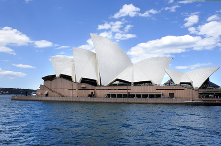 new south wales: Sydney Opera House as view from the water on a ferry in Sydney, New South Wales, Australia.