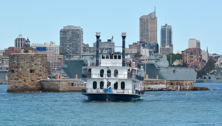 cuisine entertainment: A Paddle boat cruising to Fort Denison on Pinchgut Island in Sydney Australia New South Wales NSW