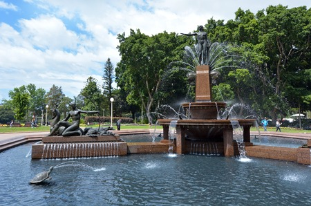unrecognisable people: Archibald Fountain in Hyde Park Sydney New South Wales Australia