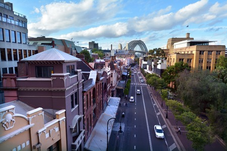 SYDNEY - OCT 19 2016: Aerial urban landscape view of George Street at The Rocks in Sydney, Australia. It was Sydneys original high street, and remains one of the busiest streets in the city centre. Editorial