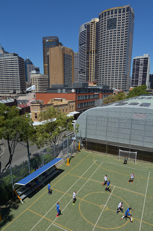 SYDNEY - OCT 18 2016:Aerial view of Australian men play soccer outdoors. Football, is the most played outdoor team sport in Australia,and ranks in the top ten for television audience. Editorial