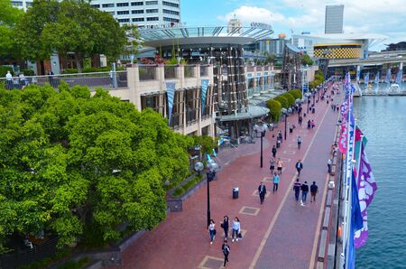 Sydney, Australia - OCT 19 2016: Cityscape of Darling Harbour, a recreational and pedestrian precinct situated on western outskirts of the Sydney central business district in New South Wales, Australia. Editorial