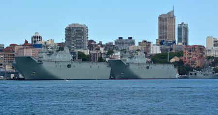 SYDNEY - OCT 19 2016:Warship mooring at Fleet Base East, major fleet bases of the Royal Australian Navy (RAN) establishments and facilities clustered around Sydney Harbour (Port Jackson).