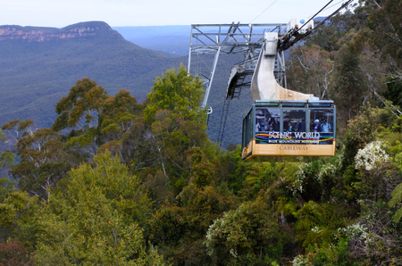 wales: KATOOMBA, Australia - OCT 21 2016:Katoomba Scenic World Cableway descends into the Jamison Valley is the steepest and largest aerial cable car in the Southern Hemisphere. Editorial