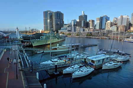 Sydney, Australia - OCT 20 2016: Cityscape of Darling Harbour, a recreational and pedestrian precinct situated on western outskirts of the Sydney central business district in New South Wales, Australia. Editorial