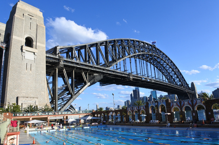 piscina olimpica: SYDNEY - OCT 18 2016:People swim in North Sydney Olympic Pool against Sydney Harbour Bridge. The historical and famous pool opened in 1936 and hosted the swimming and diving events for the 1938 Empire Games. Editorial
