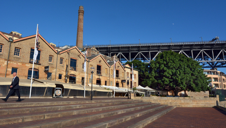 Sydney, Australia - OCT 21 2016: Campbells Stores at the Rocks in Sydney, Australia.Built in 1839, Campbells Stores are the only surviving warehouses of their type remaining on the foreshores of Sydney Cove.