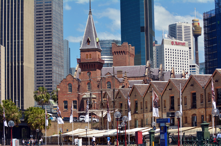 locality: SYDNEY - OCT 18 2016:Urban landscape view of The Rocks. It is an urban locality, tourist precinct and historic area of Sydneys city centre, in the state of New South Wales, Australia. Editorial