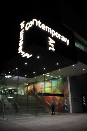 exhibiting: SYDNEY - OCT 19 2016:Museum of Contemporary Art Australia at night. Australian museum solely dedicated to exhibiting and collecting contemporary art, both from across Australia and around the world