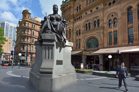SYDNEY - OCT 20 2016:Queen Victoria Building facade. Its a very famous city mall and a major tourist attraction in Sydney New South Wales, Australia.