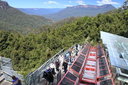 KATOOMBA, Australia - OCT 21 2016: Katoomba Scenic World Railway descends into the Jamison Valley in New South Wales, Australia. At a 52 degree incline riding it is the steepest passenger railway in the world.