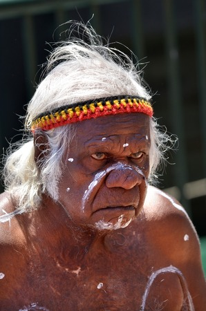 Sydney, Australia - OCT 23 2016:An old Aboriginal Indigenous Australian man portrait.In 2012 the estimated life expectancy at birth for Aboriginal and Torres Strait Islander males was 69.1 years.