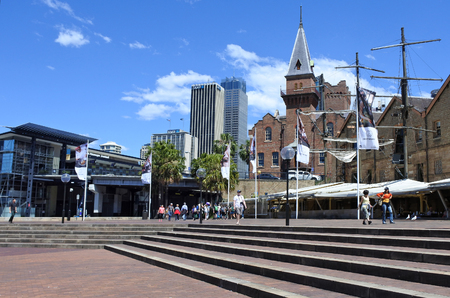 locality: SYDNEY - OCT 18 2016: Urban landscape view of The Rocks. It is an urban locality, tourist precinct and historic area of Sydneys city centre, in the state of New South Wales, Australia. Editorial
