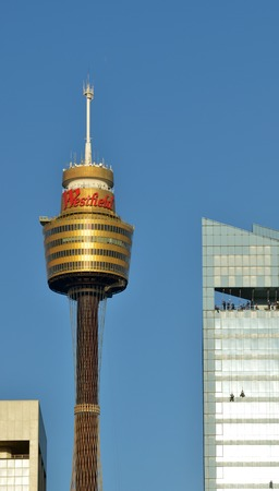 amp tower: Sydney, Australia - OCT 20 2016: Sydney Tower, Sydneys tallest structure and the second tallest observation tower in the Southern Hemisphere.