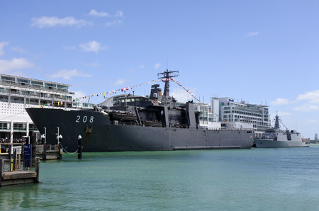 AUCKLAND - NOV 20 2016:The Indonesian Navy amphibious transport dock ship KRI Banda Aceh (LPD 539) arrives at Auckland, New Zealand as part of the NZ Navy�s 75th birthday celebrations.