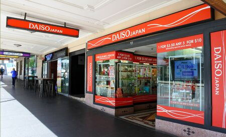 COSTUMERS: AUCKLAND - NOV 20 2016: Daiso store, a large franchise of 100-yen shop owned by Daiso Sangyo Corp. Daiso has 2,800 stores in Japan, 975 in South Korea, and 700 stores overseas. Editorial