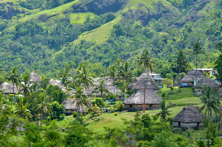Aerial view of Navala village in the Ba Highlands of northern-central Viti Levu, Fiji. It is one of the few settlements in Fiji which remains fully traditional architecturally. Stock Photo