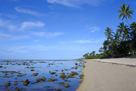 Landscape of a beach in the Coral Coast, Fiji. The coral coast is a home to many hotels and resorts on the island of Viti Levu, in Fiji.