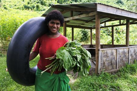 Indigenous Fijian woman in Fiji .Real people copy space