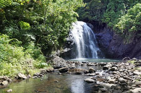 Landscape of Vuadomo Waterfall near Savusavu in Vanua LevuIsland,  Fiji