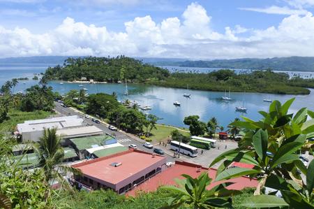 Panoramic aerial landscape view of Savusavu in Vanua Levu island, Fiji.