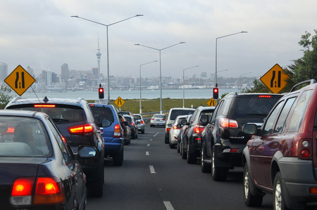 AUCKLAND - FEB 13 2017: Traffic jam in Auckland, New Zealand.Auckland has the longest morning peak-time in Australasia, from 5am - 10am.