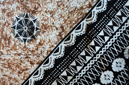 Background of traditional Pacific Island tapa cloth, a barkcloth made primarily in Tonga, Samoa and Fiji Stock Photo