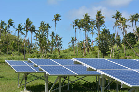 Solar PV modules on remote Island in Fiji. Fiji Sustainable Energy goals include sourcing more than 80% of the countrys electricity from renewable energies by 2020, and 100% by 2030. Stock Photo