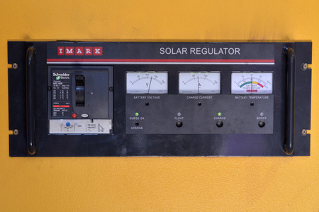 FIJI - DEC 25 2016:Solar regulator, essential component of a solar energy system as solar panels produce range of voltages so the solar controller provides a constant voltage to charge the batteries .