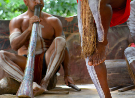 Yirrganydji Aboriginal men playand dance Aboriginal music during in Queensland, Australia.