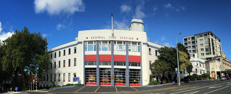 AUCKLAND - MAR 30 2017:Auckland City Fire Station in Auckland New Zealand.Its one of the 3 largest in New Zealand, and is the largest of the 28 permanently staffed stations in Auckland Region.