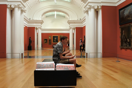 AUCKLAND - MAR 26 2017:Visitors in Auckland Art Gallery Toi o Tamaki.It's the principal public gallery in Auckland that has the most extensive collection of national and international art in New Zealand. Editorial