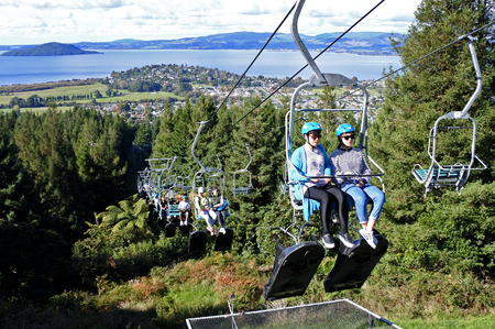 invented: ROTORUA, NZL -  APR 24 2017:Skyline Rotorua Luge   ride. Skyline Luge is a gravity fuelled fun ride. Invented in New Zealand in 1985, and having hosted over 30 million rides worldwide.