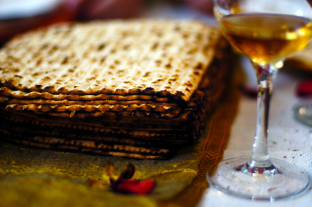 Matzah (unleavened bread) and wine for the Jewish holiday of Passover Seder meal