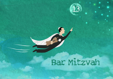 Watercolor and rasterized vector Illustration of a Jewish boy flying towards the stars and the moon holding torah scrolls for a Jewish Bar Mitzvah ceremony. Copy space for your own text