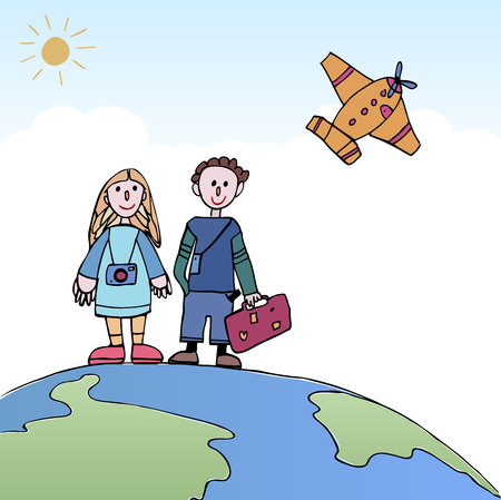 Young Couple traveling, standing on the world with a plane in the sky. Travel and tourism. Couple traveling vector illustration concept. 矢量图像