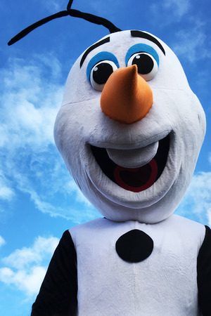 animate: AUCKLAND - JUN 18 2017:Olaf snowman, fictional character from the 2013 animated film Frozen, produced by Walt Disney Animation Studios.