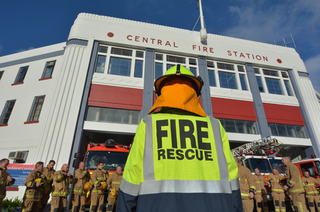 AUCKLAND - JUNE 25 2017: Auckland City Fire Station in Auckland New Zealand. Its one of the 3 largest in New Zealand, and is the largest of the 28 permanently staffed stations in Auckland Region. Editorial