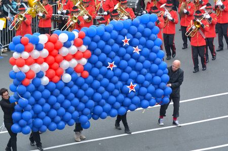 AUCKLAND - JULY 06 2017:Flag of New Zealand made out of balloons. For several decades there has been debate about changing the flag.In 2015 referendum, the country voted to keep the existing flag.
