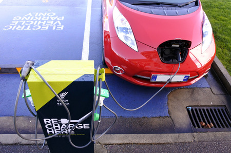 AUCKLAND - JULY 11 2017: Rapid electric vehicle charging stations. On Nov 2016 Vectors networks had 9,095 rapid charging stations around New Zealand with an average 20 minutes charge time.