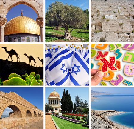 israeli: Israeli collage, Travel Israel postcard background.