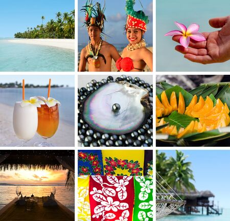Cook Islands collage. Travel Israel Stock Photo