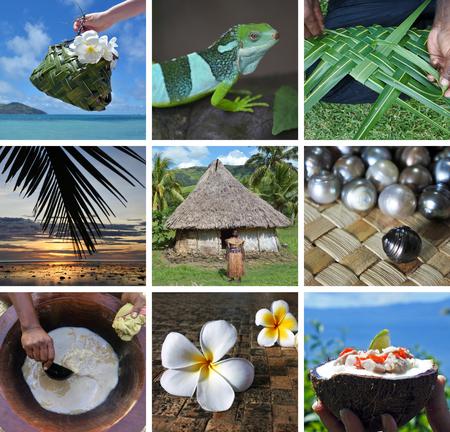 Fijian collage. Travel Fiji postcard background. Stock Photo