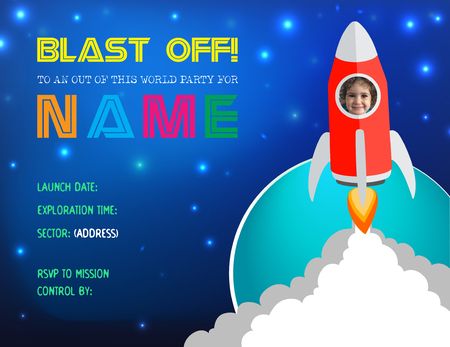 Flat design, vector illustration Child's Rocket Birthday Party Invitation with space to replace current photo inside the rocket with your child's photo