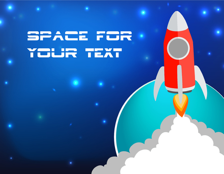 Flat design, vector illustration business rocket launch with copy space