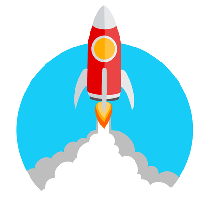 Vector illustration rocket launch icon with copy space 矢量图像